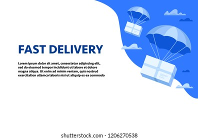 Web page design template with parcels flying down from sky with parachutes. Flat design colorful vector illustration concept for delivery service, e-commerce, international online shopping