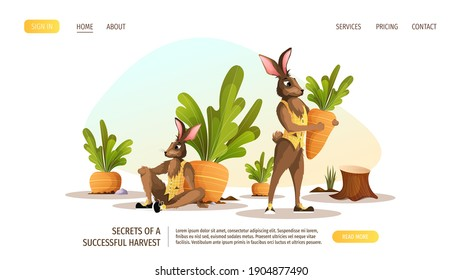 Web page design template for with rabbits on the carrot bed. Vector illustration for poster, banner, website.