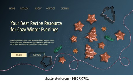 Web page design template for Recipes, Cooking, Merry Christmas. Vector illustration for poster, banner and website development.