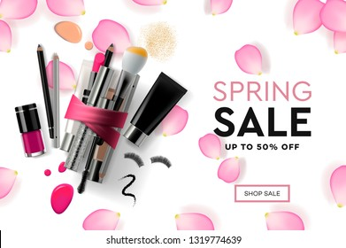 Web page design template for Spring Sale cosmetics, makeup course, natural products, body care. Modern design vector illustration concept for website and mobile website development.