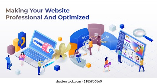 Web page design template for web studio in the modern 3d isometric style. Purchase of a domain name. Development of sites and mobile app. Search engine optimization and analytics. Vector illustration