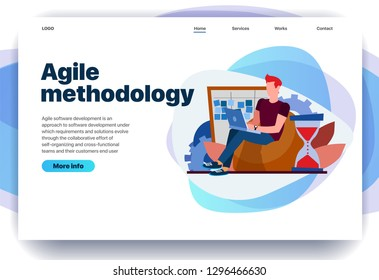 Web page design templates for agile methodology, kanban board, waterfall, software development, consulting. Guy works on his laptop. Modern vector illustration concepts for website and mobile website