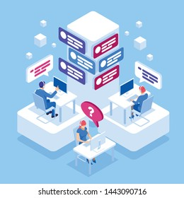 Web page design templates for call center support 24-7. Isometric 24 hours open customer service. Customer Service, Support or CRM