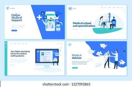 Web page design templates collection of online medical support, medical school and specialization, advisor. Modern vector illustration concepts for website and mobile website development.