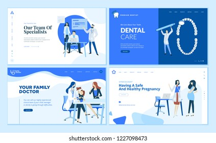 Web page design templates collection of family doctor, dentist, gynecologist, team specialist. Modern vector illustration concepts for website and mobile website development.