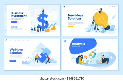 Web page design templates collection of business solution and analysis, startup, innovative ideas, investment. Flat design vector illustration concepts for website and mobile website development.