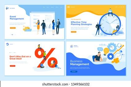 Web page design templates collection of event management, business management, e-commerce, time management. Flat design vector illustration concepts for website and mobile website development.