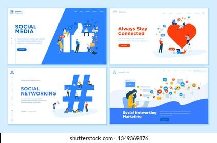 Web page design templates collection of social media, online communication, networking, digital marketing. Flat design vector illustration concepts for website and mobile website development.