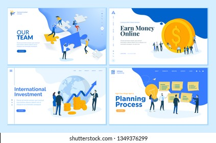Web page design templates collection of teamwork, finance, online money earning, business management and planning. Flat design vector illustration concepts for website and mobile website development.