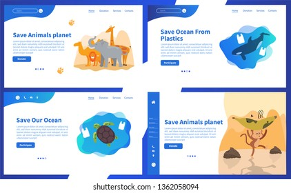 Web page design templates collection of Save Planet or Go green themes. Modern vector illustration concepts for website and mobile website development. Save earth - save animals - save human