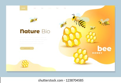Web page design templates cover for honey mead bee vector illustration concepts for website