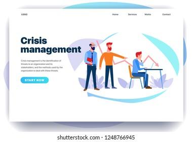 Web page design templates for crisis measures, crisis management. Head dismisses employee. Modern vector illustration concepts for website and mobile website.