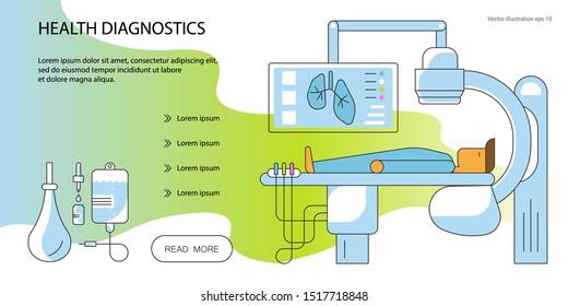 Web page design templates for online medical support, diagnostic, operation, laparoscopy. Flat Art Vector illustration