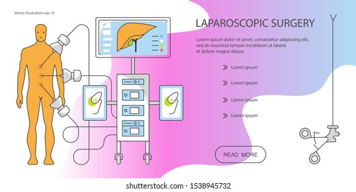 Web page design templates for online medical support, health care, medical services. Patient and  Laparoscopy icons equipment. Flat Art Vector illustration