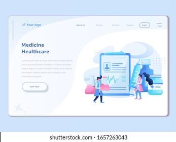 web page design templates for online medical support, health care, laboratories, medical services. Data patient Modern vector illustration concept for website and mobile website development.