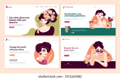 Web page design templates set for beauty, cosmetics, makeup, natural products, healthy life. Modern flat design vector illustration concept for website and mobile website development.