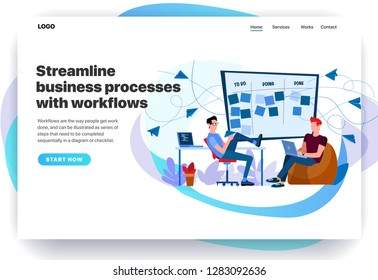 Web page design templates for streamline business processes with workflows, CRM, Kanban, setting goals. Two engineers perform tasks. Modern vector illustration concepts for website and mobile website