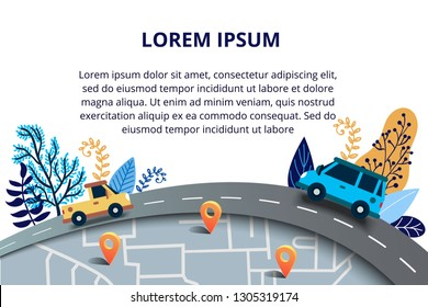 Web page design templates for travelling, journey, trip, car tour, roads and auto. Street Map with navigation icons. Navigation concept. Vector illustration with road and traffic jam