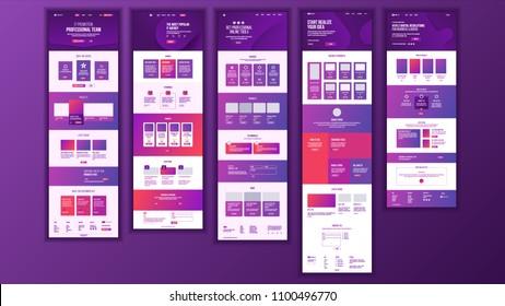 Web Page Design Vector. Website Business Style. Front End Site Scheme. Landing Template. Benefits Scheme. Responsive Blank. Credit Customer. Illustration