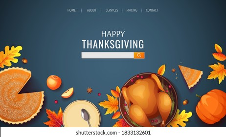 Web page disign for Happy Thanksgiving with baked turkey, autumn leaves, pumpkin pie, apples and plates on the blue background. Vector illustration for banner, poster, website.