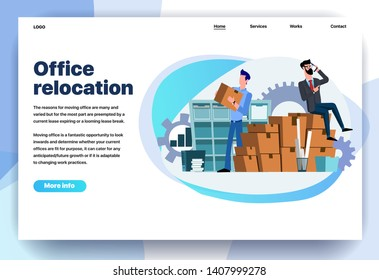 Web page flat design template for office relocation. Business landing page online moving to new office with boxes. Modern vector illustration concept for website and mobile website development