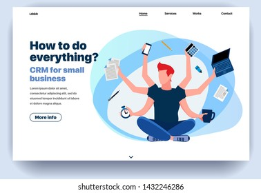 Web page flat design template CRM for small business. Business landing page online with info on how to do everything. Modern vector illustration concept for website and mobile website development