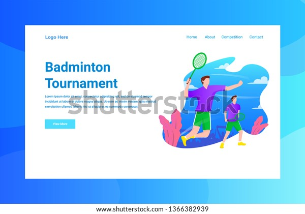 Web Page Header Badminton Tournament illustration concept landing page suitable for website creative agency and digital marketing