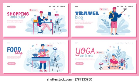 Web page interfaces set for video bloggers with cartoon characters of vloggers flat vector illustration. Landing pages with people creating content for social media.