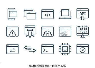 Web page line icons. Vector linear icon set.