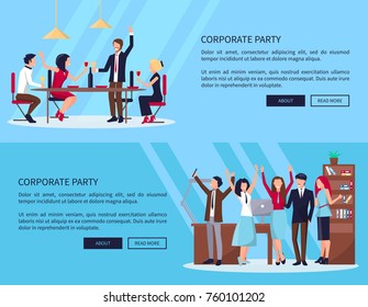 Web page of people in process of partying in office with computer, shelves and table, and drinking with meal vector illustration isolated on blue