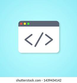 Web page and symbol coding. Programming, development. Web building, coding concept. Vector illustration. EPS 10