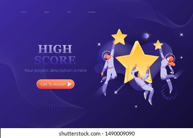 Web page template with astronauts in spacesuits around big stars. Hign score and best performance concept.