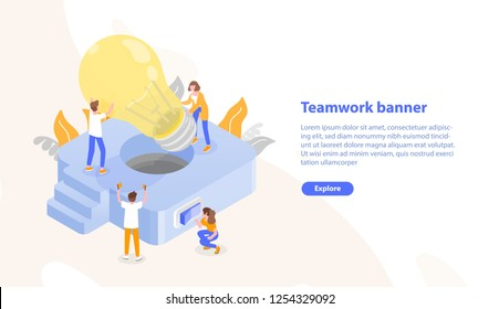Web page template with group of people putting giant lightbulb into light fixture and place for text. Teamwork or collective work. Colorful isometric vector illustration for advertisement, promotion.
