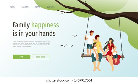 Web page template for happy family, love, happiness, parenthood, childhood. Young family sitting on a swing in nature. Vector illustration can be used in poster, banner and website development.