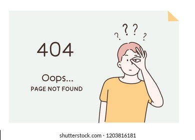 A Web page template that represents a warning message on an Internet site. Page not found hand drawn style vector design illustrations.