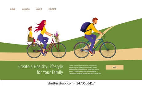 Web page template with young family riding a bikes. Healthy Lifestyle, Outdoor, Biking, Cyclists, Friendly family concept. Vector illustration can be used in poster, banner and website development.