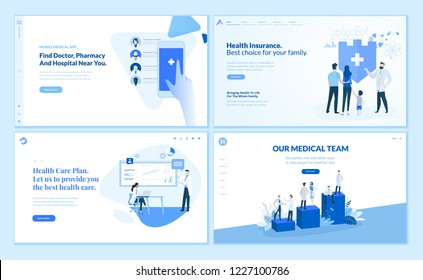 Web page templates collection of health insurance, health care plan, our medical team, app for finding the closest doctor, hospital, and pharmacy. Vector illustration concepts for web development.
