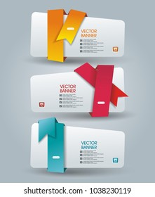 Web Panel design with color ribbons. Vector.