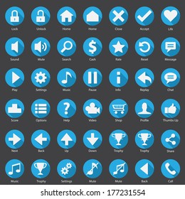 Web Phone Internet Round Blue Icon Set