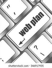 web plan concept with key on computer keyboard, business concept  vector illustration