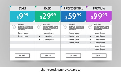 Web pricing table design for business .vector infographics template illustration for website, application.