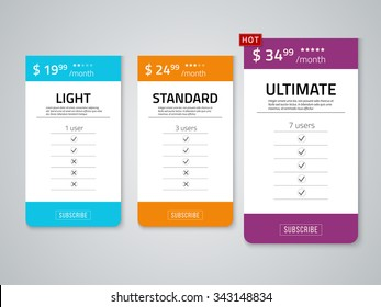 Web pricing table design for business .Vector illustration