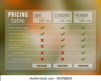 Web pricing table design for business on blur background.Vector illustration.