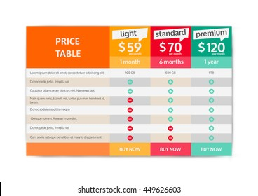 Web Pricing Table Design For Business. Vector Illustration