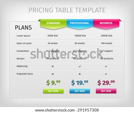 web pricing table template business plan のベクター画像素材