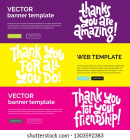 Web or print banners design template with hand drawn vector lettering. Funny quote about appreciation, gratitude, gratefulness. Discount, gift card horizontal layout for shop, business, social media.