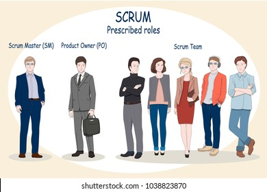 Web or print concept illustration of Scrum Roles. Product Owner and Scrum Master in a business suit. Scrum Team as a group of IT developers, UX/UI designer, QA. Set of Businessman character design.