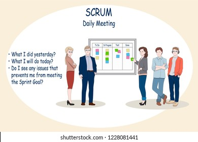 Web or print concept illustration of Scrum Daily Meeting. Scrum Master and Team have a discussion near the Task Board. Set of Businessman character design as a group of developers, UX/UI designer, QA.