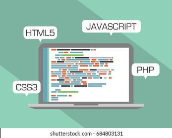 Web programming concept. Design flat, languages HTML5, CSS3, JAVASCRIPT and PHP