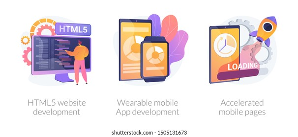 Web programming language, smart tech, app optimization. HTML5 website development, wearable mobile app development, accelerated mobile pages metaphors. Vector isolated concept metaphor illustrations